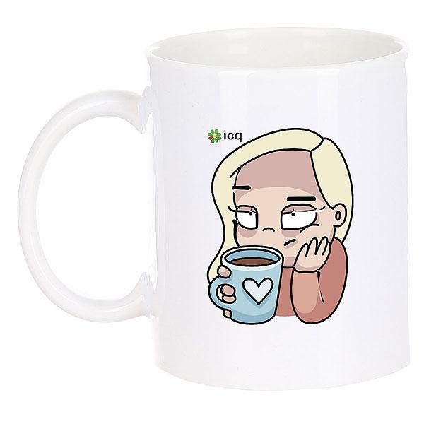 Кружка ICQ Coffegirl Белая