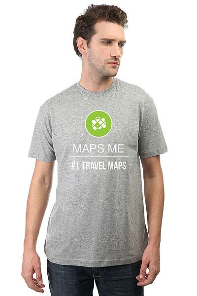 Футболка классическая Maps.me #1 TRAVEL MAPS Серая