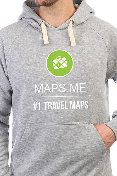 Толстовка Wearcraft Premium Maps.me #1 TRAVEL MAPS Серый Меланж