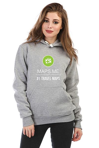 Толстовка Wearcraft Premium женская Maps.me #1 TRAVEL MAPS Серый Меланж