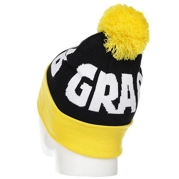 Шапка Crabgrab Pom Beanie Black & Yellow