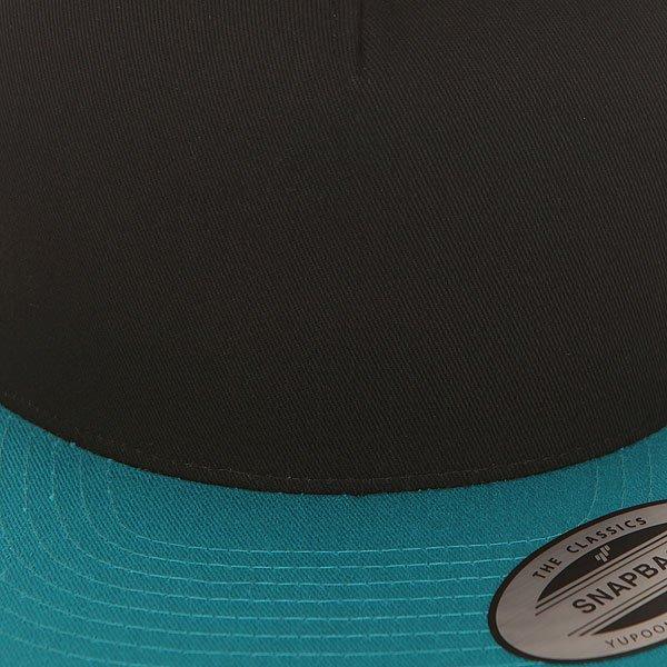 Бейсболка с прямым козырьком Flexfit 6007t Black/Teal