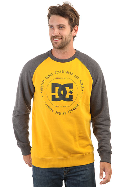 Свитшот DC Rebuilt Crew Heather Charcoal/Yellow