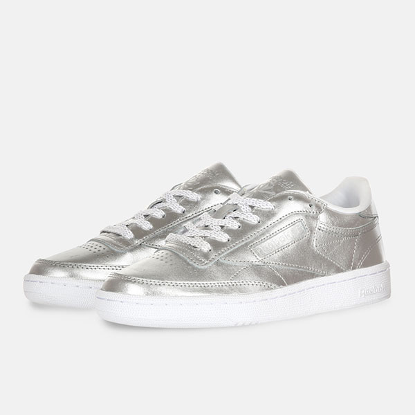 Кеды женские Reebok Club C-85 Shine Silver/White