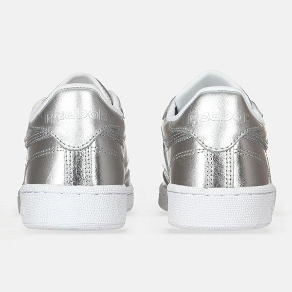 Кеды женские Reebok Club C-85 Shine Silver/White
