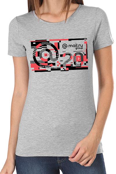 Футболка женская Wearcraft Premium Mail.ru  #20летВперёд_4 Серый Меланж