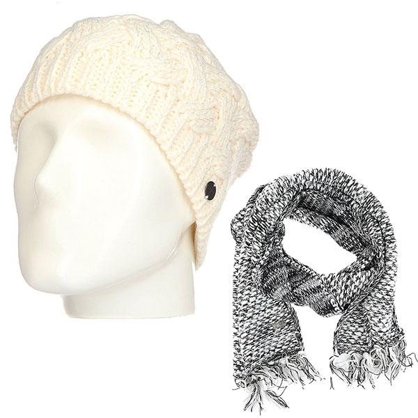 Комплект женский Roxy: шапка Love-snowbeanie Egret + шарф The Shopp Anthracite