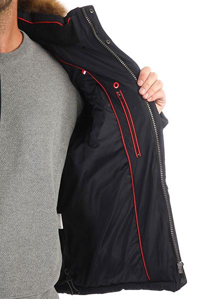 Мужская зимняя куртка с капюшоном и меховой отделкой синего цвета A PASSION PLAY