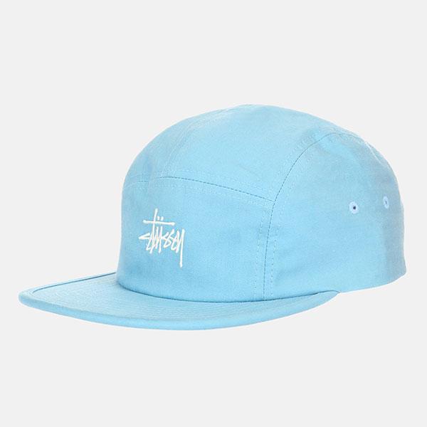 Бейсболка пятипанелька Stussy Stock Herringbone Camp Cap Blue