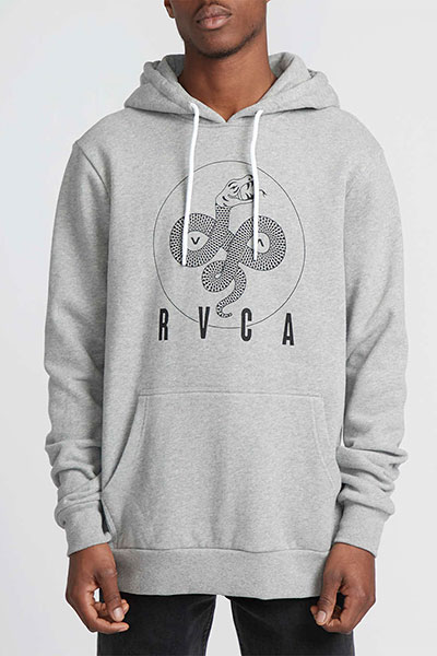 Толстовка кенгуру RVCA Serpent Curved Hoodi Athletic Heathe