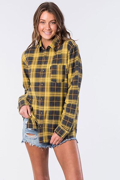 Рубашка женская Rip Curl Drake Check Shirt Washed Mustard