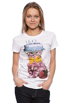 Футболка женская Insight Cat Cake Basic Tee White