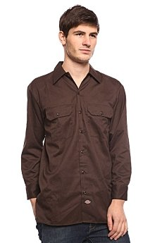 Рубашка Dickies Long Sleeve Work Shirt Dk.Brown