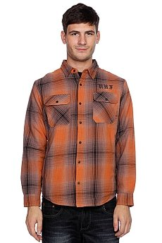 Рубашка утепленная Huf Alameda Quilted Premium Flannel Brown/Burnt Orange