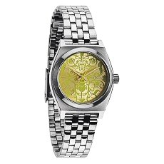 Часы женские Nixon Small Time Teller Silver/Neon Yellow/Beetlepoint