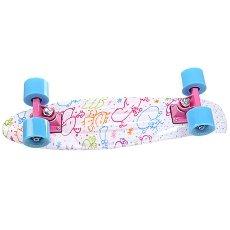 Скейт мини круизер Turbo-FB Draw White/Blue/Pink 22 (55.9 см)
