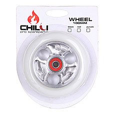 Колесо для самоката Chilli Parabol Wheel 100Mm White/Chrome Core W/Print