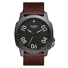Часы Nixon Ranger 45 Leather Gunmetal/Dark Brown
