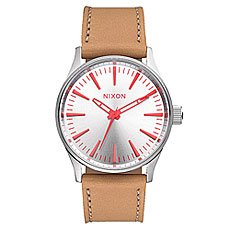 Часы Nixon Sentry 38 Leather Silver/Bright Coral/Natura
