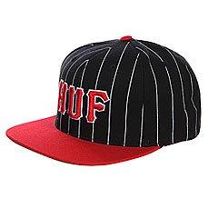 Бейсболка Huf Classic Pinstripe Starter Black/Red