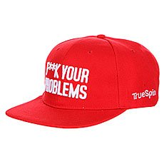 Бейсболка с прямым козырьком TrueSpin Fuck Your Problems Red