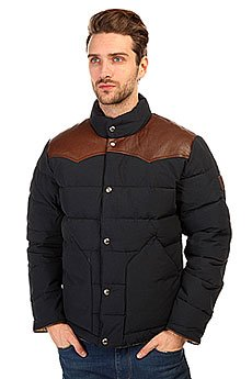 Пуховик легкий Муж Penfield Mens PELAM Leather Yoke Down Jacket Navy