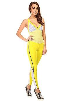 Комбинезон для фитнеса женский CajuBrasil New Zealand Overall Yellow/White