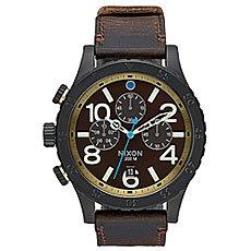 Кварцевые часы Nixon 48-20 Chrono Leather All Black/Brass/Brown