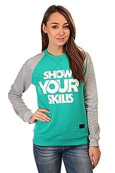Толстовка свитшот женская Skills Show You Crewneck Emerald/Grey Melange