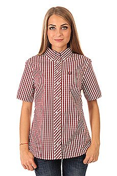 Рубашка в клетку женская Fred Perry Button Down Gingham Shirt Burgundy/White