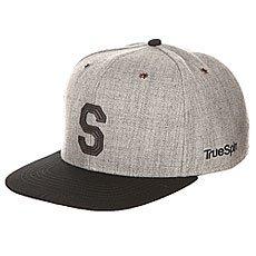 Бейсболка с прямым козырьком TrueSpin Abc Snapback Dark Grey/Black Leather-s