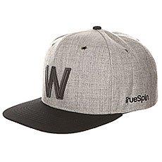 Бейсболка с прямым козырьком TrueSpin Abc Snapback Dark Grey/Black Leather-w