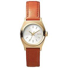 Кварцевые часы женские Nixon Time Teller Leather Light Gold/Saddle