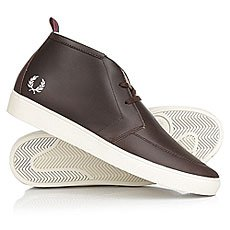 Кеды утепленные Fred Perry Shields Mid Leather/Shearling Lining Brown
