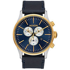 Кварцевые часы Nixon Sentry Chrono Leather Gold/Blue