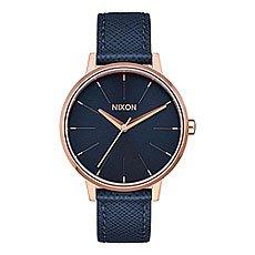 Кварцевые часы женские Nixon Kensington Leather Navy/Rose Gold