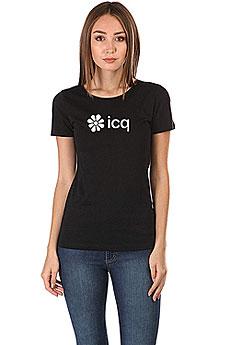 Футболка женская Wearcraft Premium ICQ Logo Черная