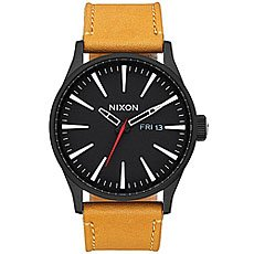 Кварцевые часы Nixon Sentry Leather Black/Goldenrod