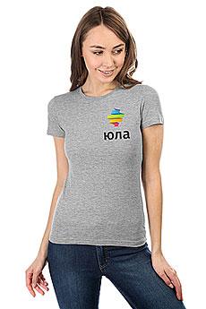 Футболка женская Классическая Юла Logo Серый Меланж