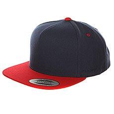 Бейсболка с прямым козырьком Flexfit 6007T Navy/Red