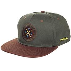 Бейсболка с прямым козырьком TrueSpin Twister Green/Brown