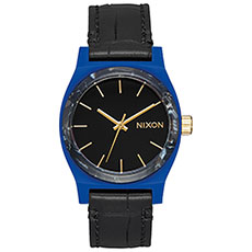 Кварцевые часы женские Nixon Medium Time Teller Leather Navy/Black