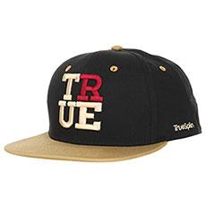 Бейсболка с прямым козырьком TrueSpin 4 Letters True Black/Beige