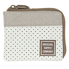 Кошелек Herschel Johnny Leather Rfid Silver Birch/Khaki Crosshatch
