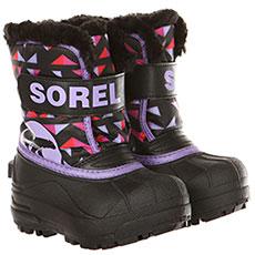 Ботинки зимние детский Sorel Snow Commander Black Paisley Purple