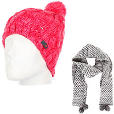 Комплект женский Roxy: шапка Shooting Star Teaberry + шарф Co Of The F Sca Heritage Heather
