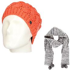 Комплект женский Roxy: шапка Love-snowbeanie Camellia + шарф Co Of The F Sca Heritage Heather