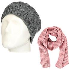 Комплект женский Roxy: шапка Love-snowbeanie Mid Heather Grey + шарф Let It Snow Sca Withered Rose