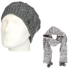 Комплект женский Roxy: шапка Love-snowbeanie Mid Heather Grey + шарф Co Of The F Sca Heritage Heather
