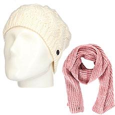 Комплект женский Roxy: шапка Love-snowbeanie Egret + шарф Let It Snow Sca Withered Rose